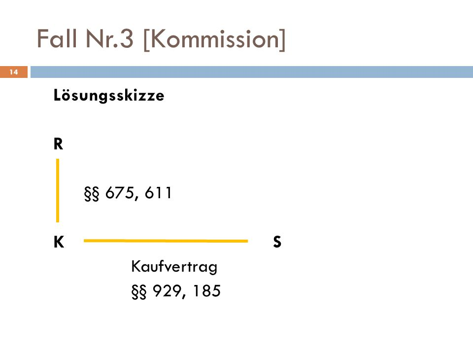 Fall Nr.3 [Kommission] Lösungsskizze R §§ 675, 611 K S Kaufvertrag